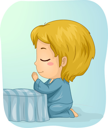 Illustration of a Little Boy Kneeling in Prayer in His Bedroom Stock Photo