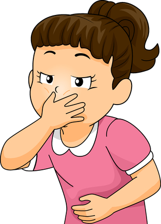 sick: Illustration of a Little Girl About to Throw Up Covering Her Mouth
