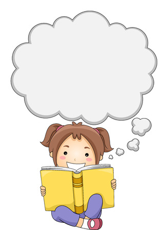 literatures: Illustration of a Little Girl Reading a Book While Thought Bubbles Appear Above Her Head Stock Photo