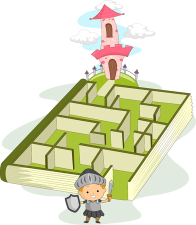 navigating: Illustration of a Little Boy Dressed as a Knight Navigating Through a Maze Leading to a Castle