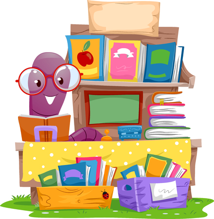 books isolated: Illustration of an Earthworm Selling Books at a Yard Sale Stock Photo