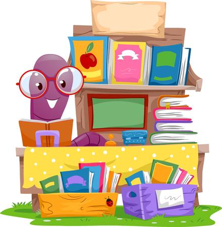 lombriz de tierra: Ilustración de una lombriz de tierra venta de libros en una venta de garaje