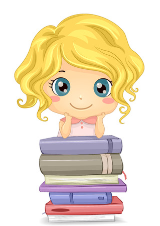 schooler: Illustration of a Little Girl Posing in Front of a Pile of Books