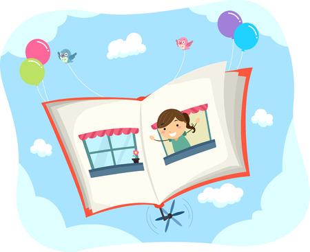 libros volando: Stickman Ilustración de una niña saltando desde la página de un libro