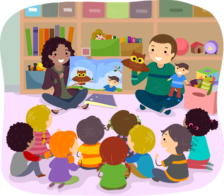 early childhood: Stickman Illustration of School Kids Listening to a Story Narrated by Puppets