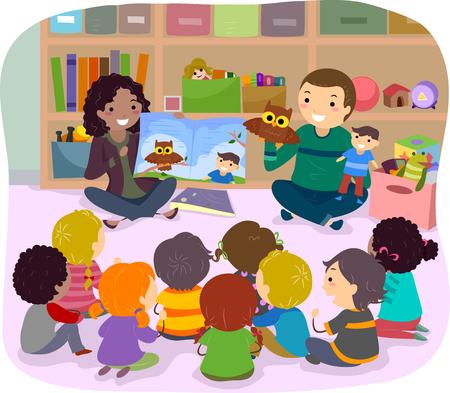 educativo: Stickman Ilustración de niños escolares escuchar un cuento narrado por Puppets