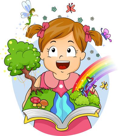 niña: Ilustración de hadas y mariposas que aparecen después de una niña abre su libro
