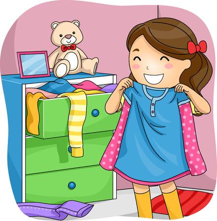 선택할 수있는 그녀의 서랍에서 옷을 당기는 어린 소녀의 그림