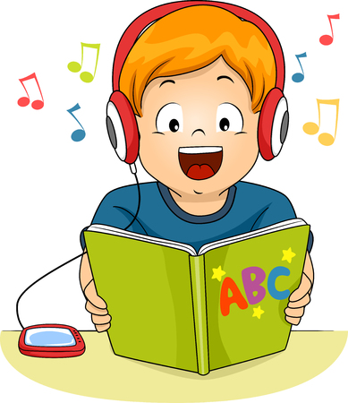 grade schooler: Illustration of a Little Boy Reading a Storybook While Listening to an Audio File