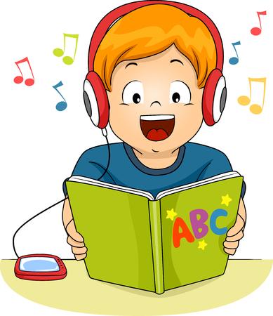Illustrazione di un ragazzino che legge un libro di fiabe durante l'ascolto in un file audio Archivio Fotografico - 47650270