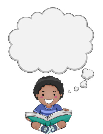 electronic book: Illustration of a Boy Reading a Book with a Thought Bubble Above His Head