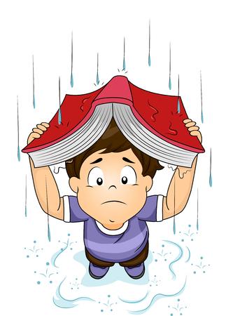 raining: Ilustración de un Niño Pequeño Usando Su Libro para cubrirse de la lluvia Foto de archivo