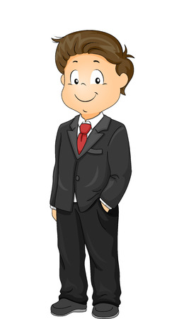 formal attire: Illustration of a Little Boy Wearing a Tuxedo to a Formal Event