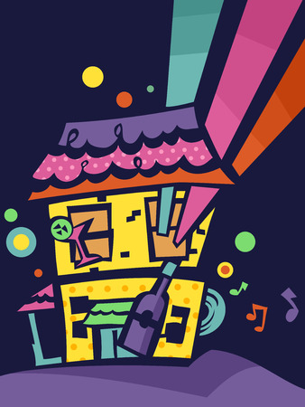 bash: Flat Illustration of a House with an Ongoing Party Inside
