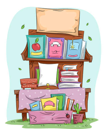 Illustration of a Yard Sale Selling Assorted Books Stock Photo