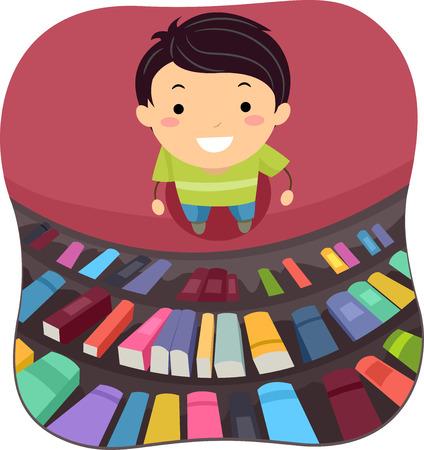 図書館で本をスキャン小さな男の子のイラスト 写真素材