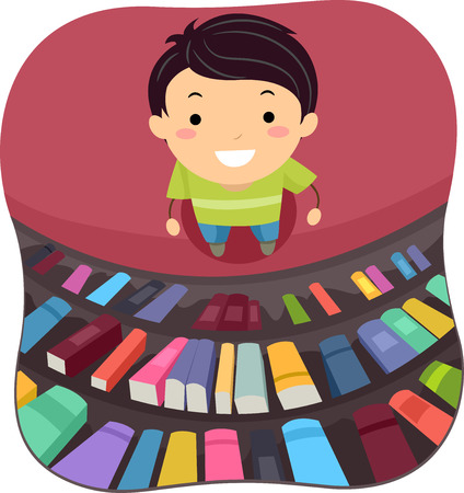 biblioteca: Ilustración de un Niño Pequeño Escaneo de los Libros en la Biblioteca