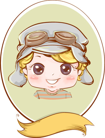aviator: Retro Frame Illustration of a Boy Wearing an Aviator Hat
