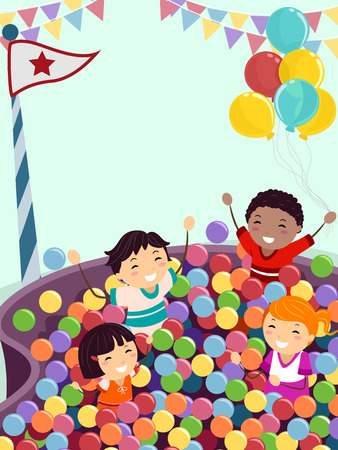 pelota caricatura: Stickman Ilustración de niños jugando alegremente en una bola de Pit