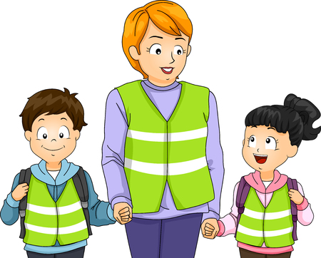 cartoon safety: Illustration of a Teacher Taking Her Students on a Walking Bus Walk Stock Photo