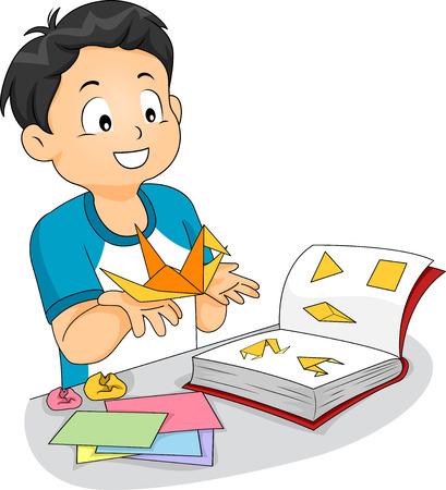 어린 소년의 그림은 종이 크레인을 확인하기 위해 종이 접기 책을 따라 스톡 콘텐츠
