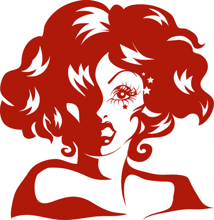 Stencil Illustration of a Drag Queen Done in Red Ink 版權商用圖片