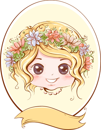 adorning: Retro Illustration of a Little Girl with a Band of Flowers Adorning Her Head