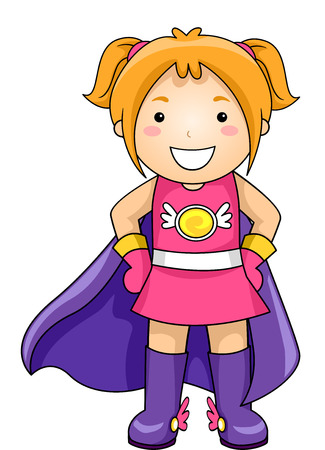 heroine: Illustration of a Little Girl Wearing a Superhero Costume Complete with a Cape Stock Photo