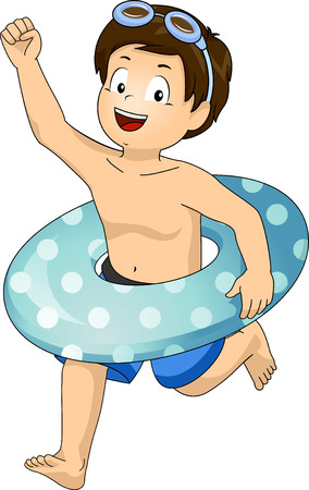 summer holiday: Illustration of a Little Boy with a Floater Around His Waist Running Excitedly