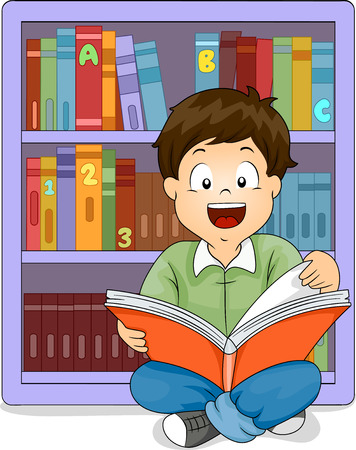 books library: Illustration of a Little Boy Sitting in Front of a Bookshelf Reading a Book