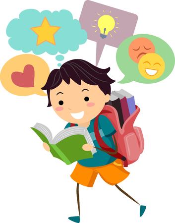 bonhomme allumette: Illustration d'un petit garçon avec Speech Bubbles Apparaissant sur sommet de sa tête pendant qu'il lit