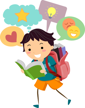 schooler: Illustration of a Little Boy With Speech Bubbles Appearing on Top of His Head While He Reads Stock Photo