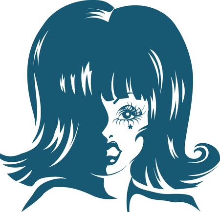 블루 잉크 이루어 드래그 퀸의 스텐실 그림 스톡 콘텐츠