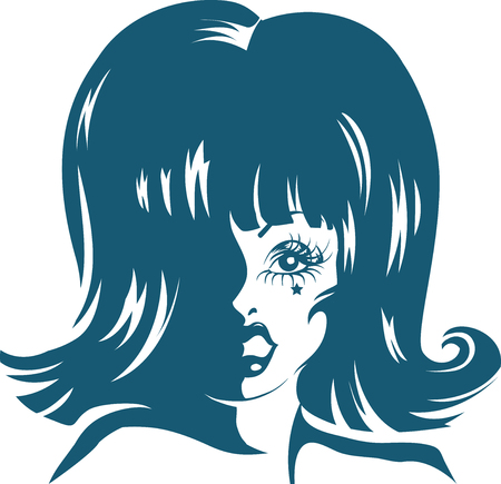 Stencil Illustration of a Drag Queen  Done in Blue Ink Stock Photo
