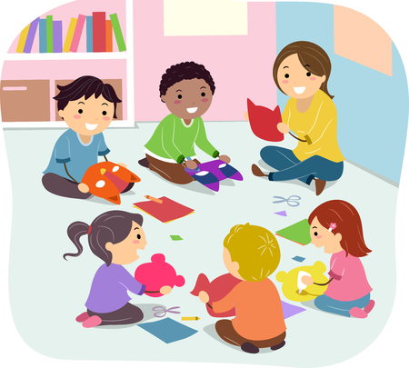 students in class: Stickman Illustration of Kids Making Masks in Art Class Stock Photo