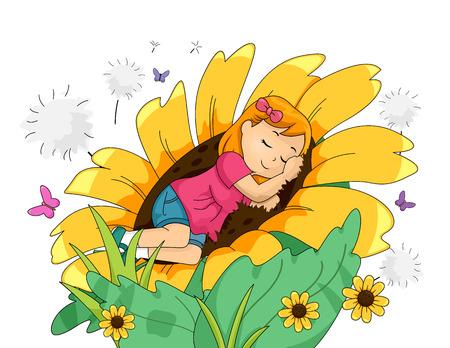 巨大なヒマワリで平和的に寝ている女の子のイラスト 写真素材
