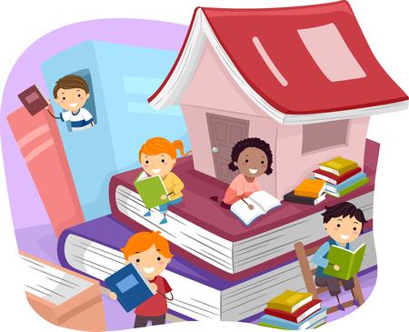 libro caricatura: Ilustración de niños Libros de lectura mientras estaba sentado en unos gigantes Foto de archivo