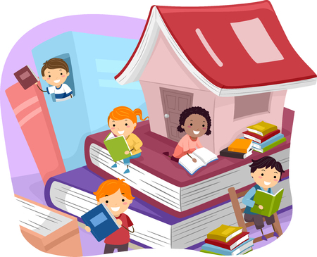 Illustration of Kids Reading Books While Sitting on Giant Ones