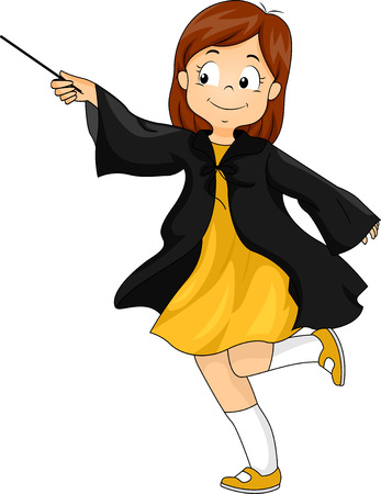 superpowers: Illustration of a Little Girl Wearing a Wizard Costume Waving a Magic Wand Stock Photo