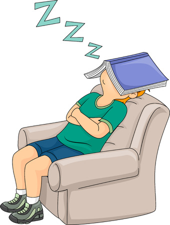 Illustratie van een kleine jongen slaapt op een stoel met zijn boek over zijn gezicht
