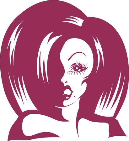 스텐실 퍼플 잉크로 된 두꺼운 가발을 쓰고있는 드래그 퀸의 그림