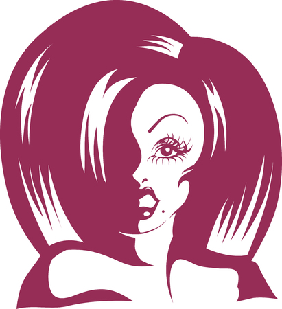 Stencil Illustration of a Drag Queen Wearing a Thick Wig  Done in Purple Ink Stock Photo