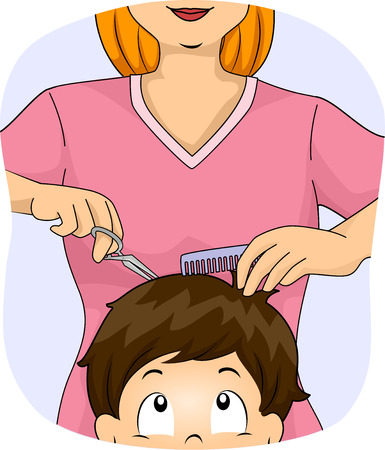 Illustration of a Little Boy Getting a Haircut at the Barber Shop
