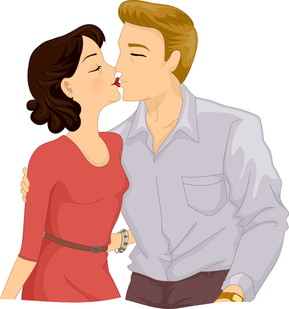 kissing lips: Romantic Illustration of an Older Couple Kissing on the Lips