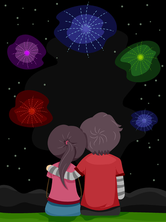 fireworks show: Stickman Illustration of a Couple Enjoying a Fireworks Show