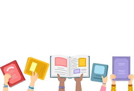 Border Illustration der Kinder Putting Offene Bücher Up in the Air Standard-Bild - 48026162