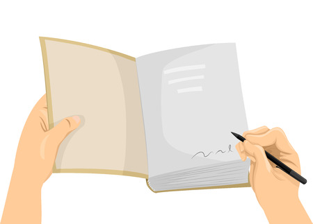 cropped: Cropped Illustration of a Hand Signing the First Page of a Book Stock Photo