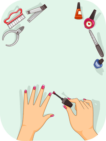 in vain: Illustration of a Woman Applying Nail Polish on Her Fingernails