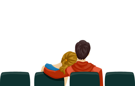 love couple cartoon: Back View Illustration of a Young Couple on a Movie Date