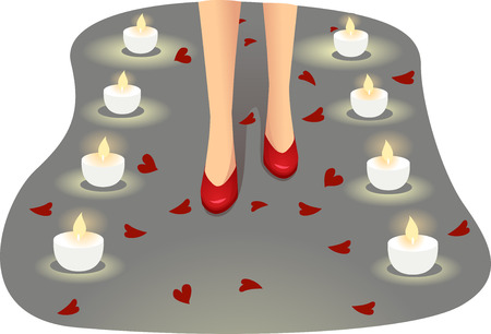 engagement: Illustration of a Girl Walking on a Path Lined with Flower Petals and Candles